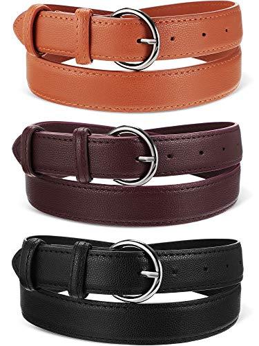 3 Piezas de Cinturones de Cuero de Mujer Cinturón Suave Vintage Aleación Hebilla Pantalones Vaqueros (se Adapta a los Pantalones de 32-36 Pulgadas)