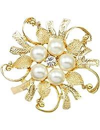 SANWOOD® Mode Blumen Brosche Pin Strass Kunst-Perlen Blumen Braut Hochzeit Schmuck