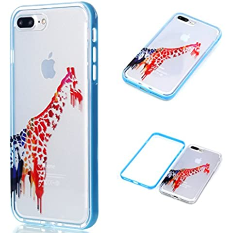 Custodia iPhone 7 PLUS , Cozy Hut Cover iPhone 7 PLUS Silicone Trasparente TPU Flessibile Sottile Bumper Case per Apple iPhone 7 PLUS Ultra Sottile Anti Graffi Silicone Cover Protettivo Pelle Guscio Paraurti Copertura per iPhone 7 PLUS (5.5 zoll) - Cartoon Giraffe