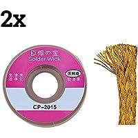 TOOGOO(R) 2pcs 2.0mm Solder Wick Remover desoldar trenza de alambre lechon cable fundente Flux