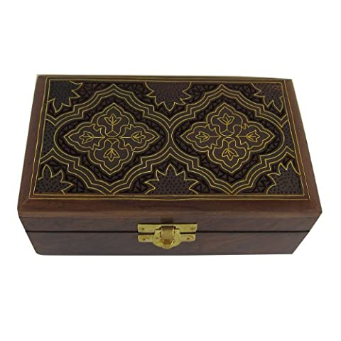 Rangement De Bijoux - Coffret En Bois Et Laiton - Boîte Sculptée À La Main En Inde