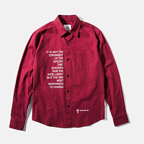 Honghu Herren Basic Freizeit Hemd Rot