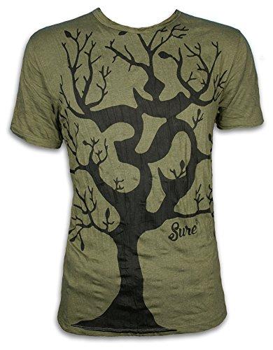 Sure Herren T-Shirt Om Baum Des Lebens Aom Symbol Buddhismus Hinduismus Yoga Goa PSY (Olive Grün XL)