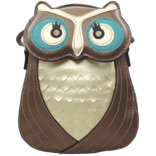 UKFS 3D-Form Booboo Owl-Leder-Frauen-Damen Umhängetasche / Schultertasche / Handtasche / Tier Taschen (Bronze) Bronze