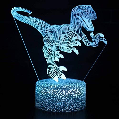 Luce Notturna 3D Illusione Ottica Led Lampada Dinosauro Interruttore Tattile Cambio 7 Colori Lampada Da Letto Per Camera Da Letto Per Bambini, Regali Per Feste Di Compleanno Per Bambini