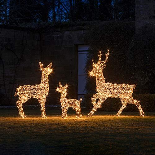 Lights4fun Rattan LED Rentier Familie Weihnachtsfiguren Außen