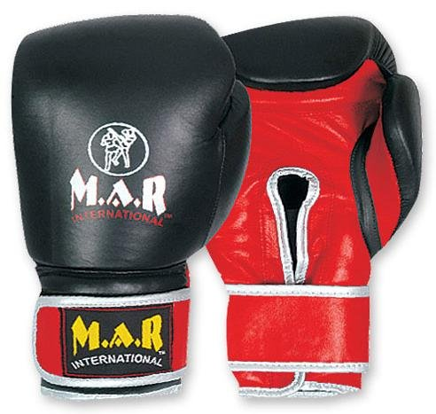 M.A.R International Ltd Boxhandschuhe aus echtem Leder geeignet für Kinder & Erwachsene Kickboxen Gear Thai Boxing Equipment MMA Supplies Muay Thai Training schwarz schwarz 20oz (Boxing Equipment Kinder)