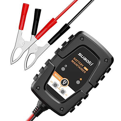 SUAOKI Cargador de Batería de Coche/Motocicleta 1Amp 6/12V, Cargador de batería portátil Mantenedor con indicadores de carga LED inteligentes, protección múltiple automática para Coche ATV Moto