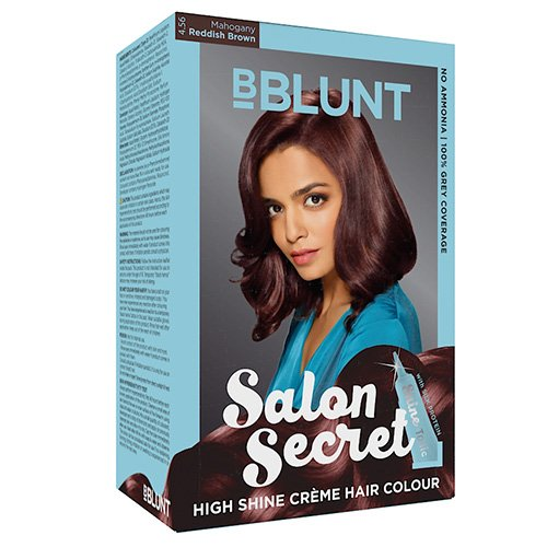 BBLUNT Salon Secret High Shine Creme Hair Colour, Reddish Brown 4.56, 100g with Shine Tonic, 8ml