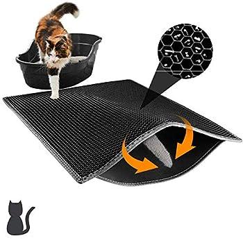 Yongmao - Tapis de litière pour chat, double couche nid d'abeille, tapis d'alimentation pour chat, tapis de litière résistant et imperméable pour protéger le sol et la moquette, facile à nettoyer
