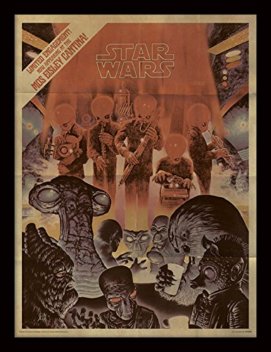 Pyramid International Star Wars (Mos Eisley Cantina Aged) 30x40 cm gerahmter Druck, 250GSM PAPERWRAP MDF, Mehrfarbig, 44 x 33 x 4 cm
