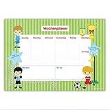 Schreibtischunterlage Fußball für Kinder - DIN A2 (59,4 x 42cm) aus Papier - mit 25 Blatt - beschreibbar - zum Planen der Woche - von Papierdrachen