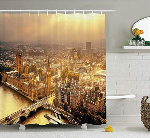 er Curtain, Westminster Aerial View with Thames River and London Urban Cityscape Panoramic, Fabric Bathroom Decor Set with Hooks, 60x72 inches, Yellow ()