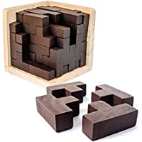 Sharp 3D Wooden Brain Teaser Puzzle by Brain Zone. Genius Skills Builder T-Shape Pieces with Tetris Fit. Educational Toy for Kids and Adults. Explore Creativity and Problem Solving. Painted Finish