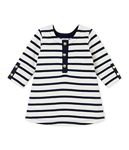 Petit Bateau ROBES ML Robe Bébé fille Blanc (Marshmallow/Smoking 01) 6-9 mois (Taille fabricant: 6M 6 MOIS)