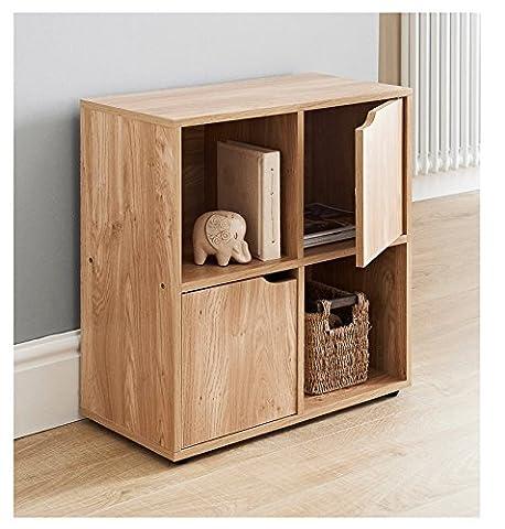 MDF Oak Finish 4 Cube Shelf Books CDs & DVDs Storage Unit 2 Doors 2 Open Cubes by eShop4U