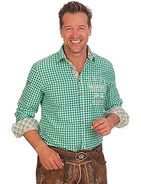 H1531 - Trachtenhemd mit langem Arm - türkis, grün