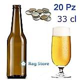 20 Bottiglie bottiglia vetro per birra alta 330 ml - 33 cl con tappi corona