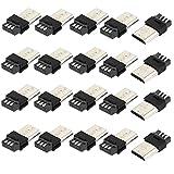 sourcingmap 20 Pièces Micro USB 5Pin Type B mâle Connecteurs à souder Prise Jack