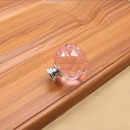 HCHANG Zinklegierungs-Griff, Einloch-Kristallgriff, runder Knopf-Griff, Garderobenschrank-Griff,Pink