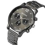 immagine prodotto Amlaiworld Moda uomo cristallo acciaio inossidabile analogico quarzo orologio da polso bracciale (nero)