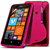 (Hot Pink) Nokia Lumia 625 Schutzhülle S-line Hydro Wave Gel Skin Case Hülle Cover, Aus- und einfahrbarem Touch Screen Stylus Pen & LCD Screen Protector Guard von Spyrox