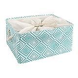sourcingmap® Extra Large Storage Baskets, Foldable Storage Bins Toy Basket Laundry Clothes Towel Organizer w Drawstring Closure(Green,XL)