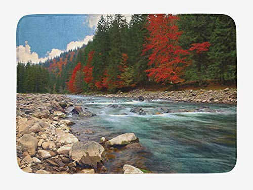 Rocky Eliminator (LLiopn Nature Bath Mat, Mountain River in Autumn Time Rocky Shore Colorful Forest Alps Trees, Plush Bathroom Decor Mat with Non Slip Backing, Forest Green Turquoise 19.7x31.5 inch)