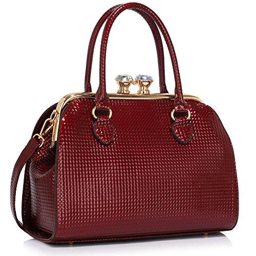 Trend Star Ladies Handbags Women's Designer Bags celebrity Leatherette Patent Tote Bag A - Burgund