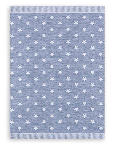 Jacquard-gewebe (KRACHT, Weihnachten, Geschirrtuch Jacquard Gewebe Halbleinen, Serie Sterne, blau, Edition ziczac-affaires, ca.50x70cm)