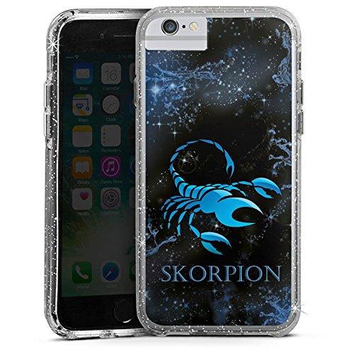 Apple iPhone 7 Bumper Hülle Bumper Case Glitzer Hülle Sternzeichen Skorpion Scorpion Bumper Case Glitzer silber