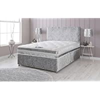 Sleep Factory Ltd Crushed Velvet Divan Bed with Memory Foam Sprung Mattress and Headboard - 4ft Small Double, Silver