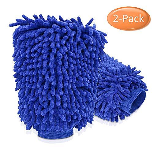 Nakeey Mikrofaser Autowaschhandschuh, Waschhandschuh Mikrofaser für Auto Waschhandschuh Handschuh mit Reinigungstuch Trokentuch Poliertuch- 2 Stücke Mikrofaser Microfasertuch Set