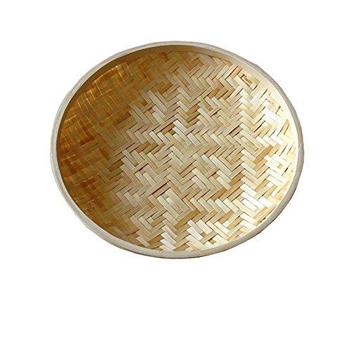 Bamboo weberei Oblate Multifunktional Obstschalen,Brot oder ablagekorb Platte für leben Esszimmer Präsentation des essens und garnieren-A Durchmesser24cm(9inch)
