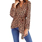 2018 Frauen Herbst Mode Langarm Leopard Print Verband Bluse Tops T-Shirt Damen Lose Hemd Shirt Loose Fit Oberteile Elegant Oberteil Langarmshirt Drucken V-Neck Sweatshirt (Khaki,XL)