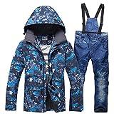 GoodLuckShop Herren Skianzüge Winterjacke Kälteschutz Warmhalten Bergsteigeranzug Furnier Doppeldecker Ski Jacket Hose (Blaue Top + ski Jeans, M+L)