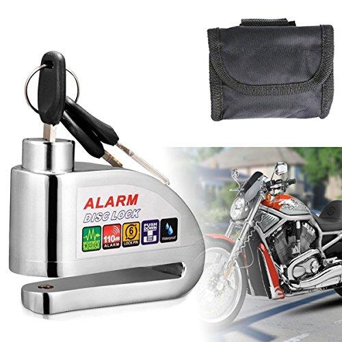 Motorradschloss,Bremsscheibenschloss,Wasserdichte Scheibenbremse Schloss mit 110db Alarm Sound für Motorräder Fahrräder