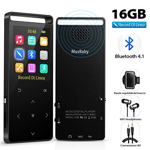 Lettore MP3 Bluetooth 4.2 Portatile 16GB, Regiono con Radio FM/Registratore Vocale,...