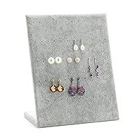 GGG Velvet L Shaped 60 Holes Studs Earring Stand Holder Ear Stud Jewelry Display Rack Grey