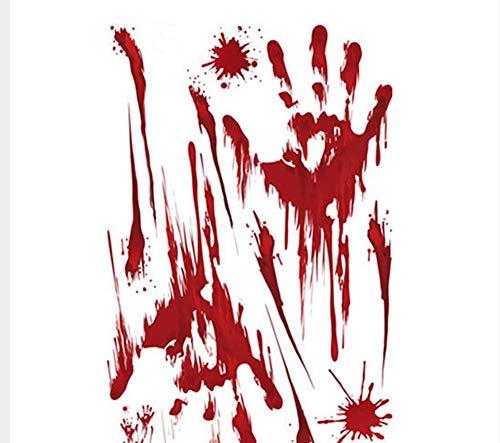 nehmbare Selbstklebende Diy Kunst Moderne Dekoration Halloween Unheimlich Blut Füße Und Hand Blutrot Fensteraufkleber 20 * 45Cm Entfernbare Wanddekoration Aufkleber ()