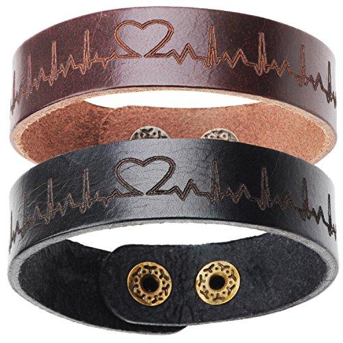 2 x Fashion Herzschlag Leder Armband Black & Brown Paar Armbänder für Liebhaber Geburtstagsgeschenk