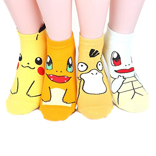 Pokemon-Womens-Ankle-Socks-4-pairs-4-color-1-pack-Made-in-Korea