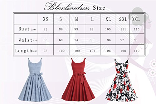 bbonlinedress 1950er Vintage Polka Dots Pinup Retro Rockabilly Kleid Cocktailkleider Blue Red Flower S - 6