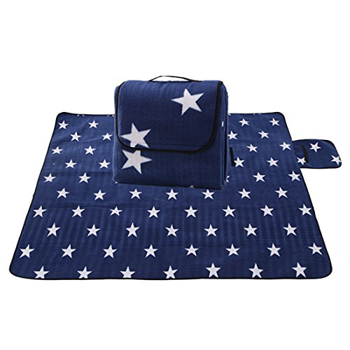 X-Labor Outdoor Picknick Decke Fleece 200x200 cm XXL mit Wasserdichter Unterseite Blau Stern