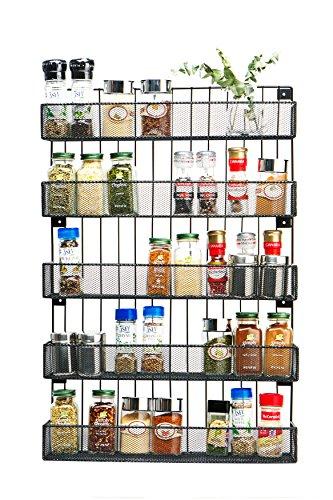 JackCubeDesign Wandhalterung Gewürzregal 5-fach Küchenarbeitsplatte Arbeitsplatte Display Organizer Gewürzflaschen Halter Ständer Regale (44,7 x 10,4 x 67,8 cm) -: MK419A - 5 Regal-wandhalterung
