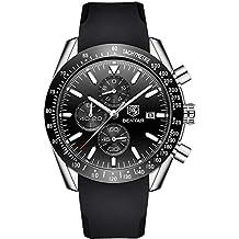 MISSWongg_Reloj Reloj Negocio, Pulsera Casual de Cuarzo de Gel de Silicona para Hombres Moda Lujo