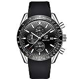 MISSWongg_Reloj Reloj Negocio, Pulsera Casual de Cuarzo de Gel de Silicona para Hombres Moda Lujo Blue Ray Resistente Agua Reloj de Caballero de Cuarzo