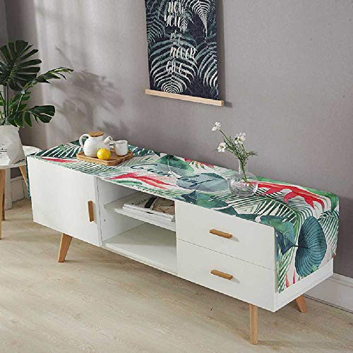 fdsa Waterproof Linen TV Cabinet Cover, Towel, Table Cloth, Tea Table, Rectangular Living Room, Household TV Cabinet dust Cover Customized Contact Customer Service/Pink Flowers and Green Leaves - Restaurants Buffet-möbel