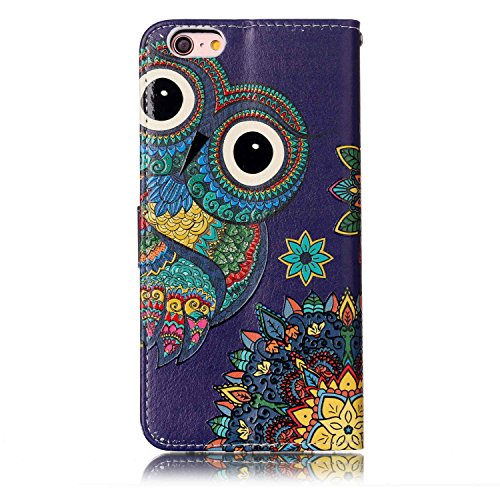 iPhone 6S Plus Hülle,iPhone 6 Plus Case,iPhone 6S Plus Cover - Felfy PU Ledertasche Strap Flip Standfunktion Magnetverschluss Luxe Bookstyle Ledertasche Nette Retro Mode Painted Muster Abdeckung Schut Relief Nationale Eule