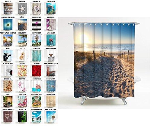 Sanilo Duschvorhang, viele schöne Duschvorhänge zur Auswahl, hochwertige Qualität, inkl. 12 Ringe, wasserdicht, Anti-Schimmel-Effekt (180 x 180 cm, Düne)